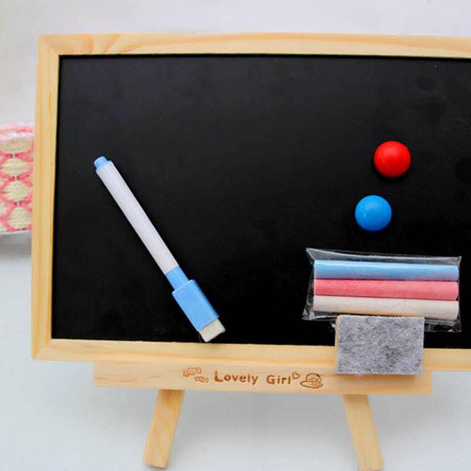 创意木质工艺品留言小黑板 双面儿童画板带支架式磁性白板送粉笔