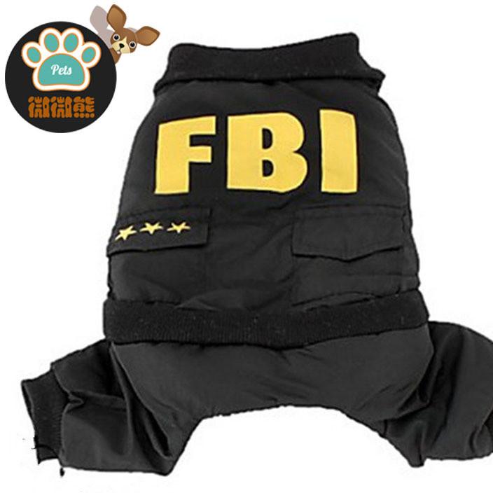 速卖通爆款宠物保暖冬装 FBI四脚衣防风防寒狗狗衣服宠物服饰批发