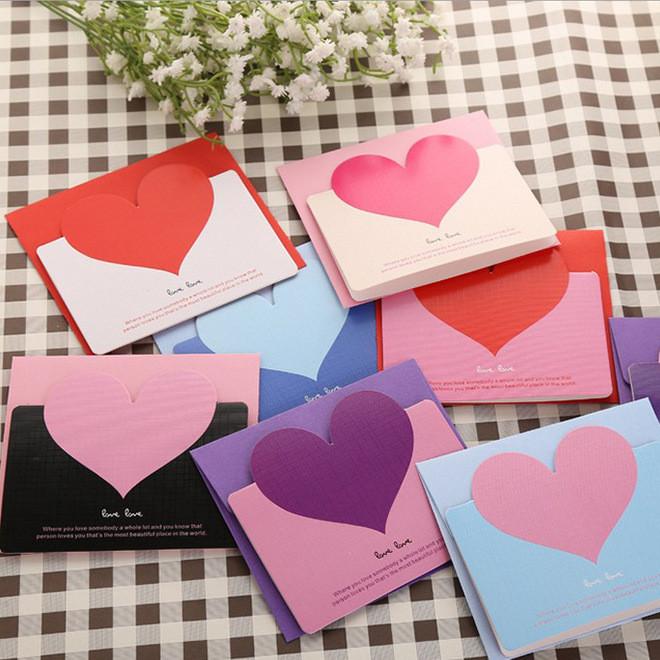 现货单卡 精致情人节贺卡 爱心祝福卡片 婚礼祝福卡 创意卡片批发