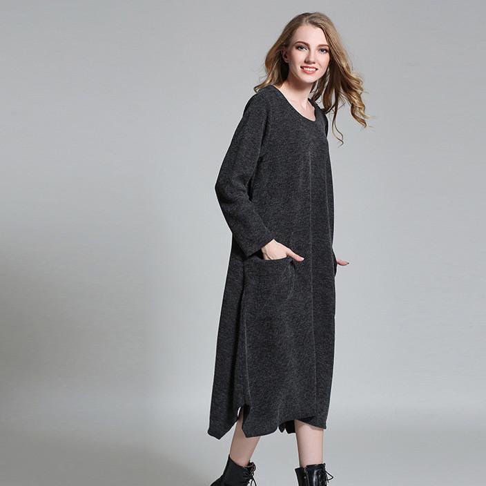 2019新品中长款纯色高腰连衣裙冬装打底大码女裙长袖孕妇针织裙子