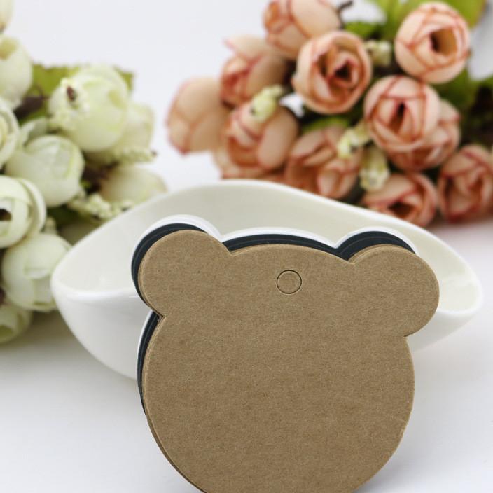 牛皮纸小熊小标签空白纸卡抽奖卡装饰卡祝福卡手工挂件吊牌卡