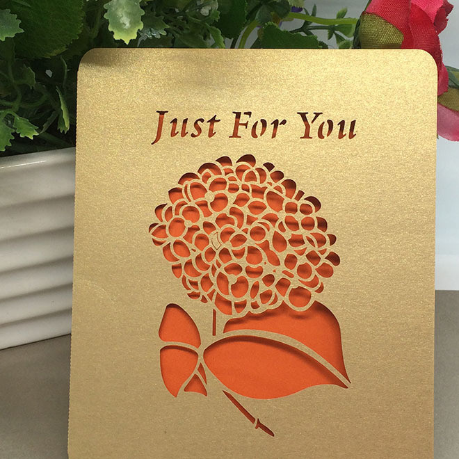 激光镂空个性情人节贺卡圣诞小卡纸学生生日祝福卡片明信片定制