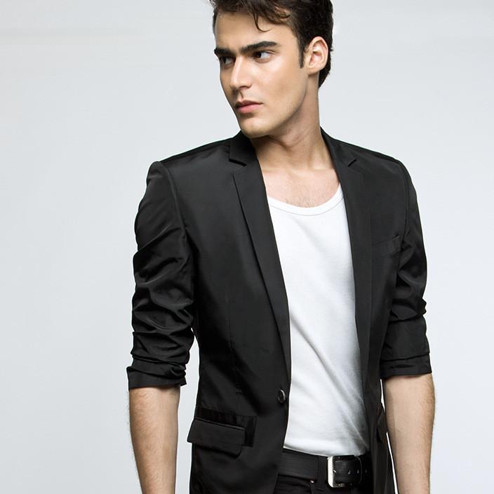 夏款男式单西服上衣7分袖时尚设计商务休闲韩版黑色水洗西装