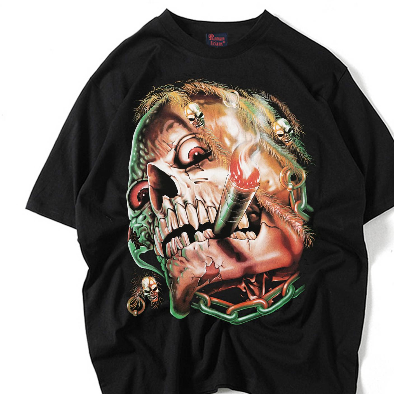 rom欧美夜店风潮抽烟骷髅T恤速卖通亚马逊爆款男式短袖3D印花衣服