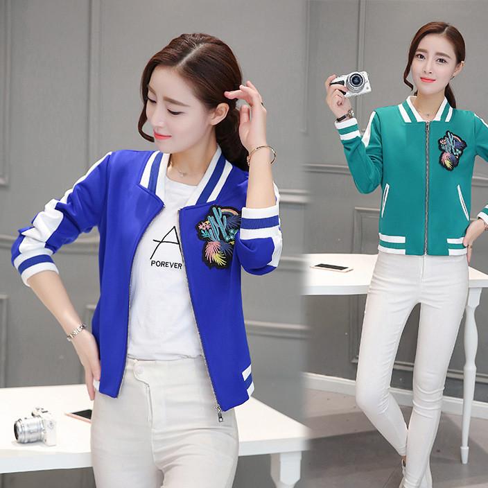 2019秋季新款韩版时尚修身显瘦卫衣女士夹克刺绣短外套棒球服