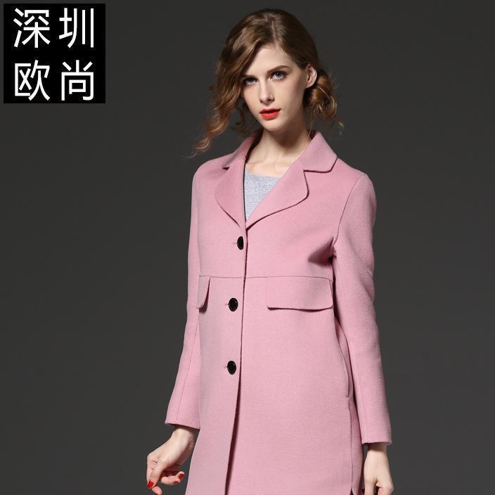 2019秋冬新款高端大牌女装中长款西装领厚羊毛女士毛呢大衣外套