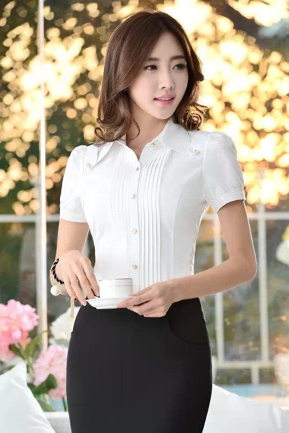 2019夏季新款韩版百搭雪纺衫 职业女士白衬衫短袖工作服 厂家直销