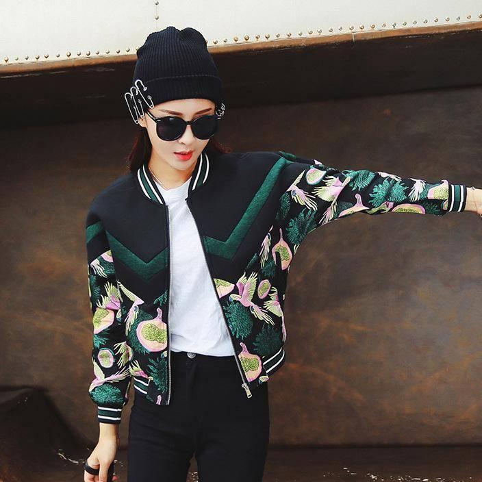 2019秋冬新款韩版女装外套重工花鸟图案刺绣棒球服女士夹克短外套