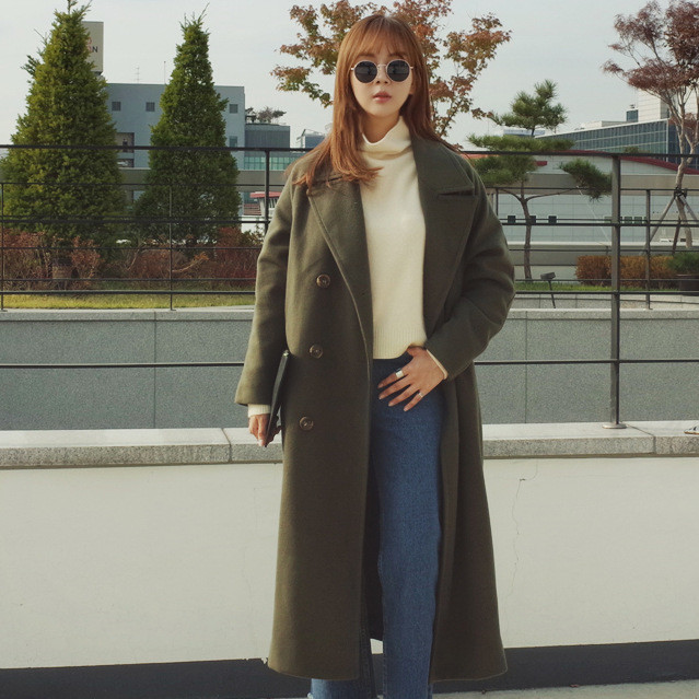 反季大衣女装2019新款韩版女士毛呢大衣中长款修身冬季外套