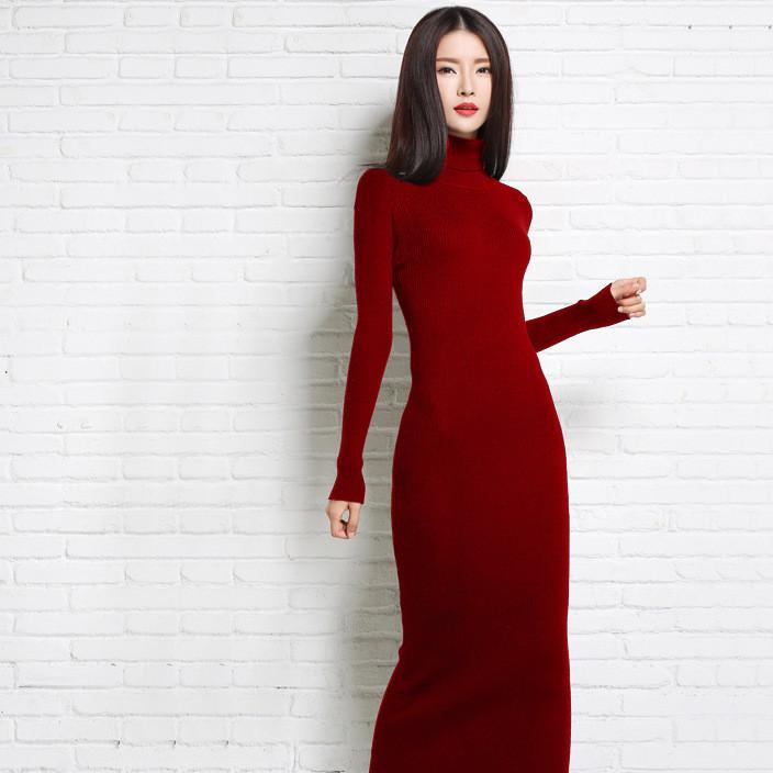 女裙超长款羊绒裙 抽条针织裙套头长毛衣 纯色修身羊绒衫连衣裙