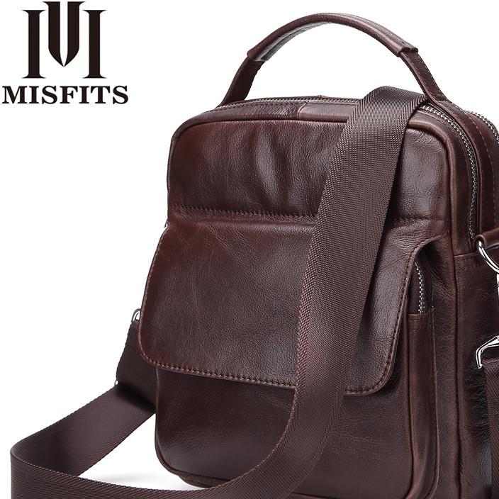 名仕 复古头层牛皮竖款单肩包 男士真皮商务手提包时尚休闲斜跨包