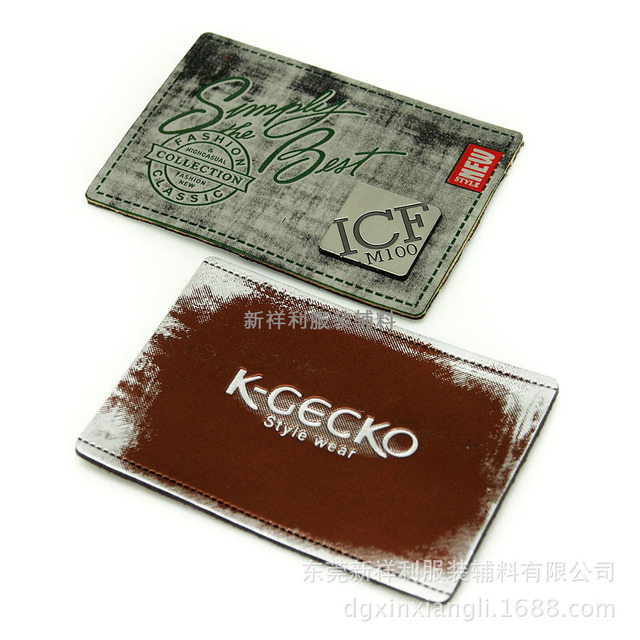 Silk printed denim leather brand genuine leather label PU color leather hardware brand waterproof washing label