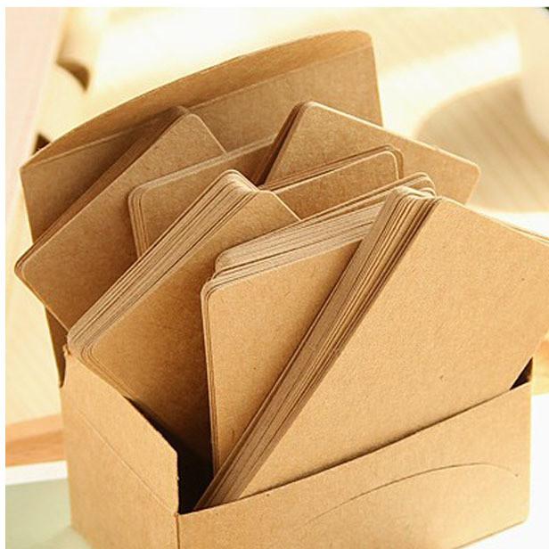 复古 空白diy明信片 留言卡 贺卡 单词卡片 一盒100片