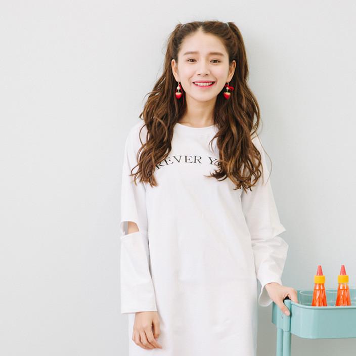 韩国秋装新款T恤女全棉中长款字母女装女式T恤 女装批发一件代发