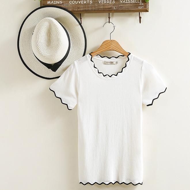 2019夏季新款韩版针织女上装打底衫纯色修身短袖女式T恤 批发