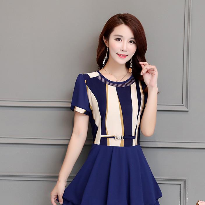 实拍夏季新款韩版短袖雪纺衫上衣大码女装条纹小衫
