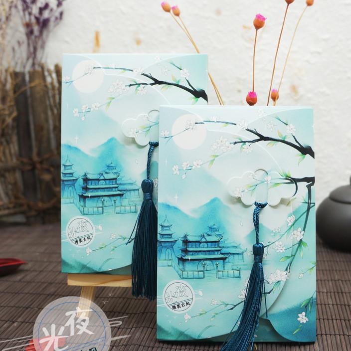 岁月坊原创手绘中国风古风套装带小流苏特色小礼品夜光明信片批发